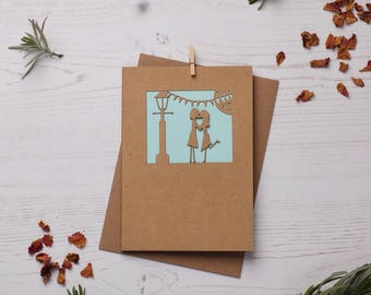Hers and hers paper cut card, FREE P&P!