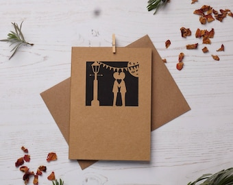 His and his paper cut card, FREE P&P!