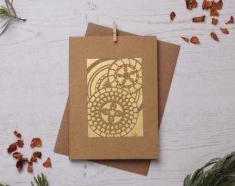 Mandala pattern card 3, Paper cut card, Greetings card, Colourful card, Mandala card, Pattern card FREE P&P