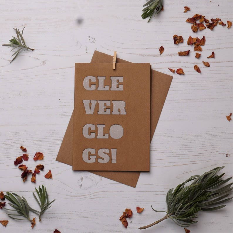 Clever clogs card Paper cut card Graduation card Cards for image 0