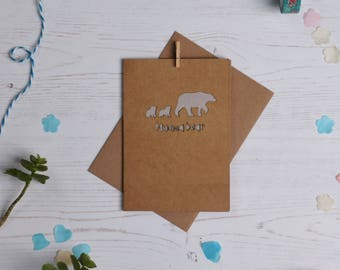 Pappa bear paper cut card- brown,father's day card, dad card, paper cut, cards for dad, cards for dad, cards for new dad, free P&P