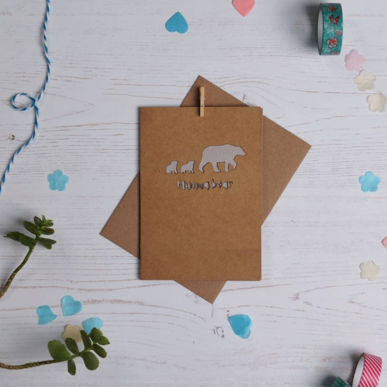 Pappa bear paper cut card brownfather's day card dad image 0