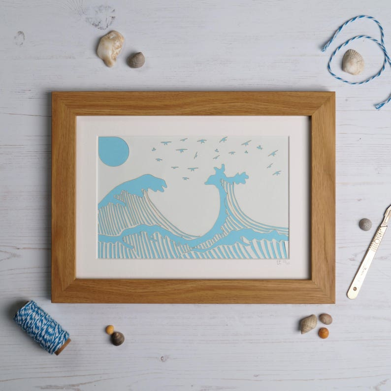 Paper cut wave illustration. Wave paper cut Seaside Paper image 0