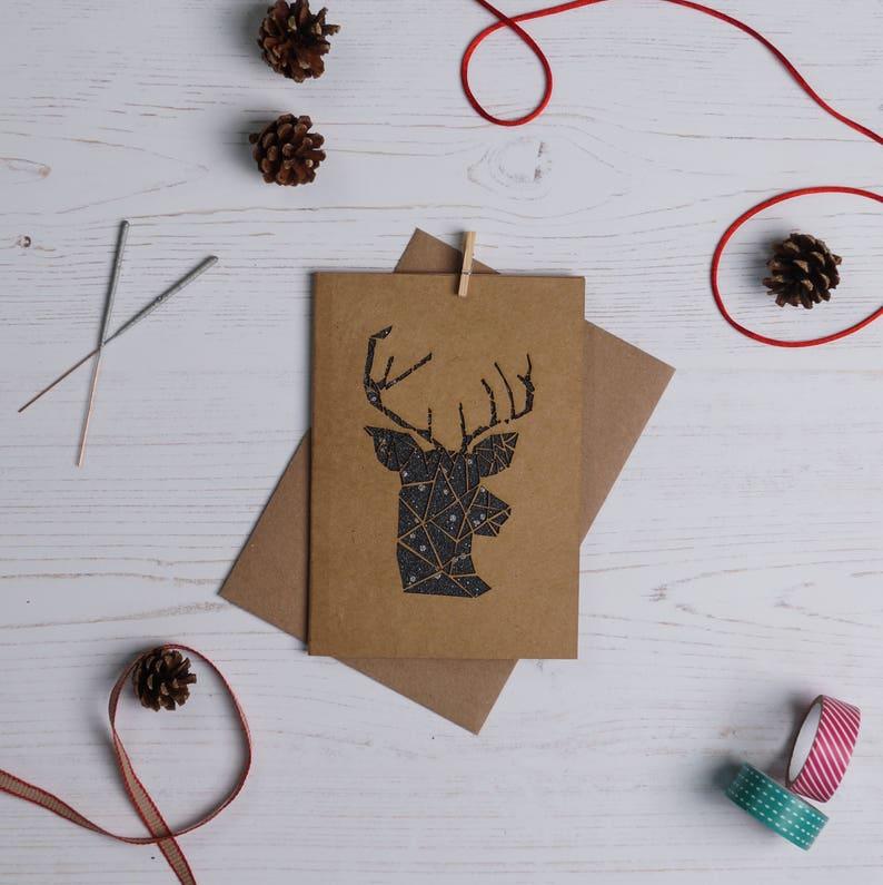 Deer Christmas card paper cut christmas card greetings card image 0
