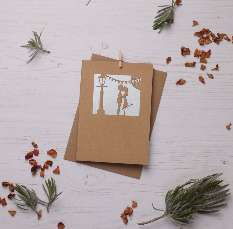 His and Hers Valentine Card. Paper cut card Card Valentines image 0