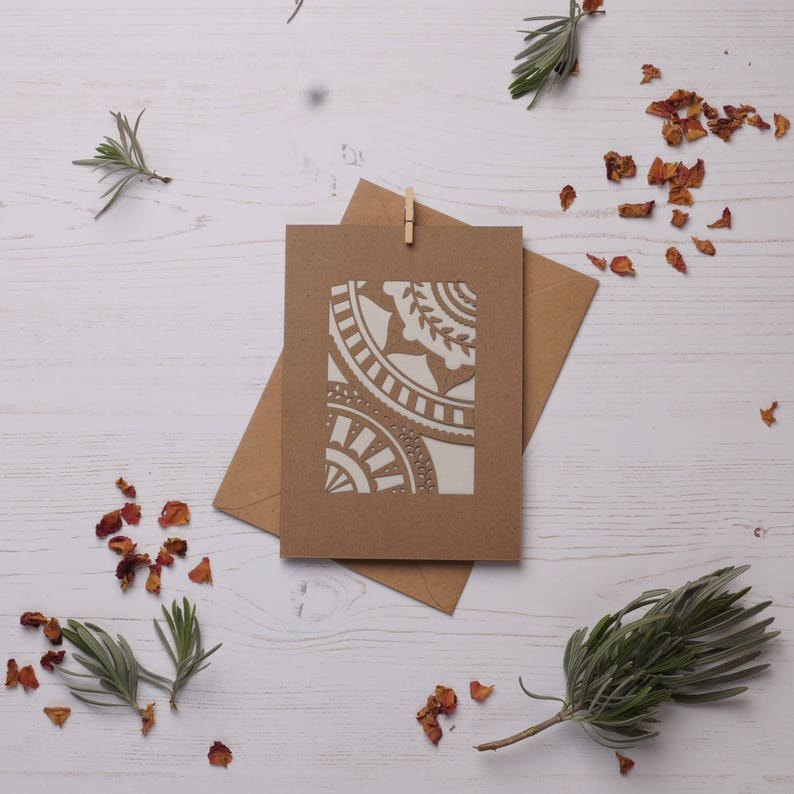 Mandala pattern card 2 Paper cut card Greetings card image 0