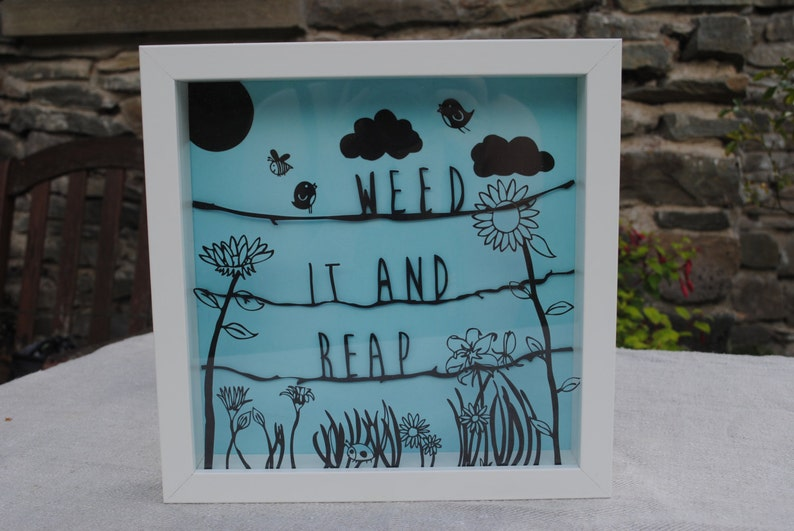 Framed paper cut  Weed it and reap. Layered paper cut piece image 0