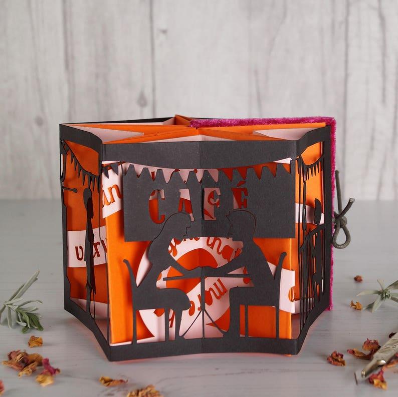 Paper cut book  Little book of Love orange. Book image 1