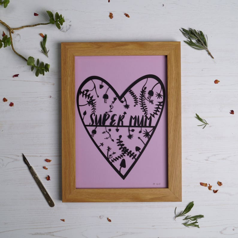 Super mum paper cut mother's day present mum gift paper image 0