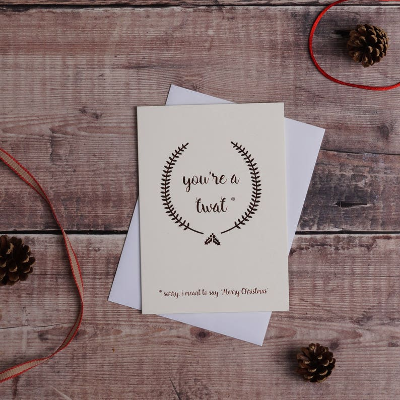 Custom listing for Laura. Rude christmas card Rose Gold image 0
