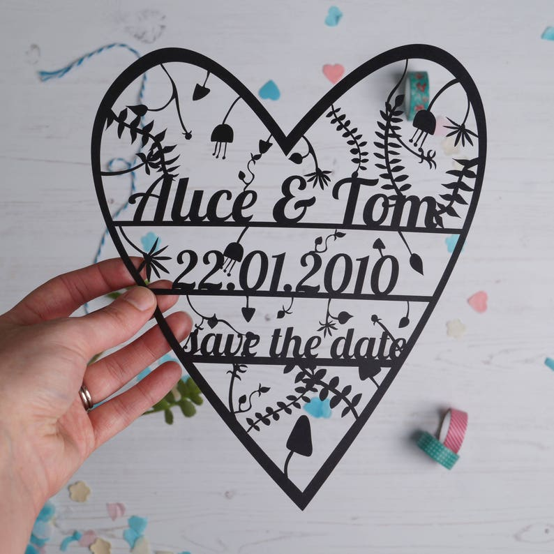 SAMPLE Personalised Save the date Paper Cut Invitation. image 0