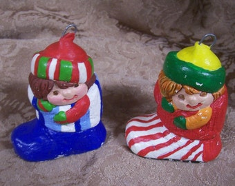 Two Vintage Plaster Hand Painted Christmas Ornaments