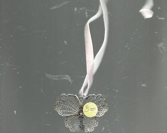 filgree butterfly necklace with velvet ribbon