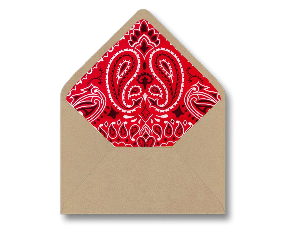 Printable Envelope Liner Template Red Bandana Paisley DIY | Etsy