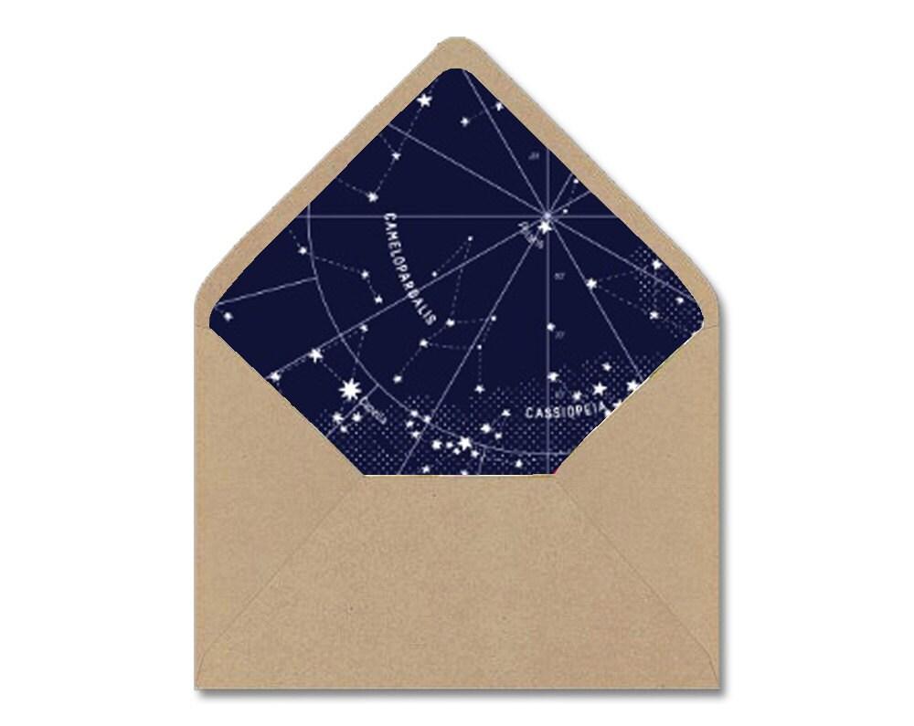 Diy Printable Envelope Liner Template Navy White Etsy