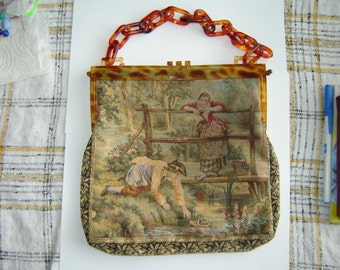 Tapestry purse France lucite handles