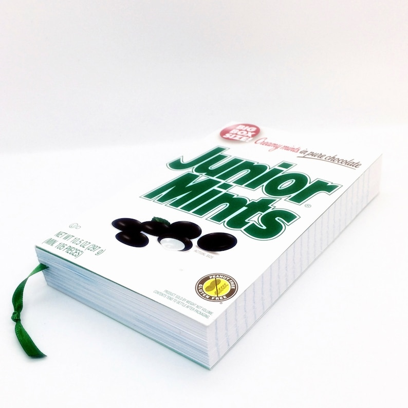 Junior Mints Big Box Recycled Candy Box Journal / Paperback Style Notebook,  Unique Journal, Candy Box Book, Lined Paper Candy Box Journal