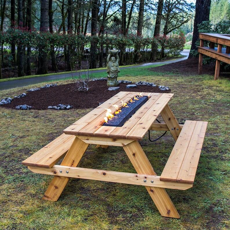 Fire Pit Picnic Table  Cedar image 0