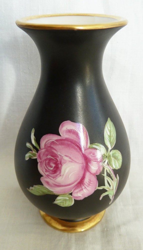Vintage West Germany Vase Hand Painted Shabby Chic Pink Rose Etsy