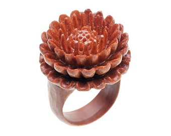 "Hand Carved Chrysanthemum Wood Ring - 9/16"" Flower"