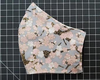 Japanese Pink Cherry Blossom Sakura Blue Grey Pink Red Face Mask, 100 Percent Cotton, Washable, Reusable, Filter Pocket