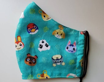 Animal Crossing Print Face Mask, 100 Percent Cotton, Washable, Reusable