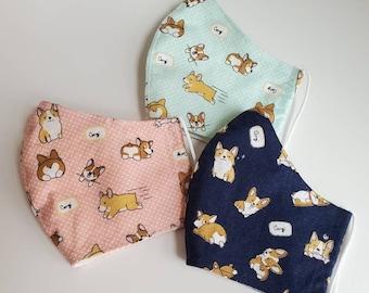 Cute Corgi Dog Print Face Mask, 100 Percent Cotton, Washable, Reusable, filter pocket