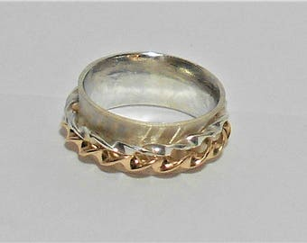 Spinner Ring,  Silver Spinner Ring, Sterling Silver Spinner Ring, Silver and Gold Spinner Ring, Sterling Silver and Gold Spinner Ring