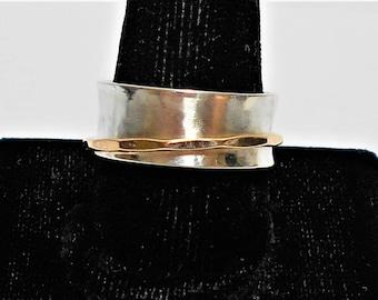 Spinner Ring, Spinner Ring Woman,  Silver Spinner Ring, Sterling Silver Spinner Ring, Sterling Silver and Gold Spinner Ring