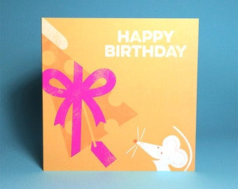 Mouse 'Cheesy Grin' Greetings Card