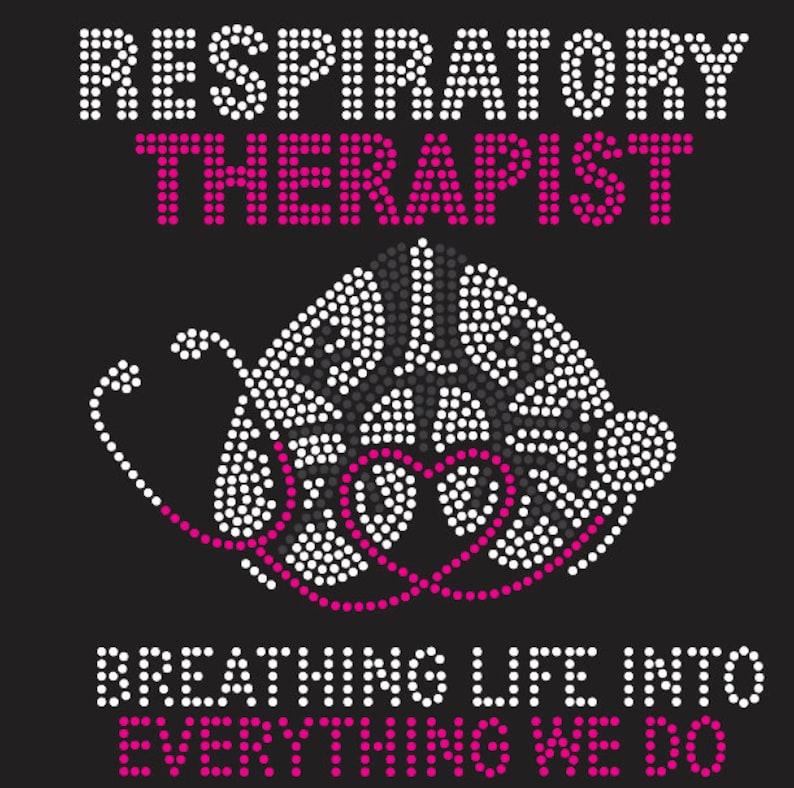 Respiratory Therapist Rhinestone T-shirt Afro Black Girl image 0