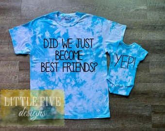 Did We Just Become Best Friends Sibling Shirt Set, Tie Dye Shirt, Baby Shower Gift