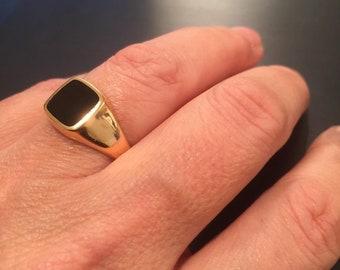 65f48730da44a Onyx signet ring | Etsy