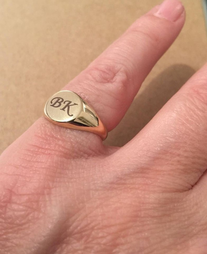 bcab2db36b Pinky ring Personalized Ring Gold Engraved Signet Ring | Etsy
