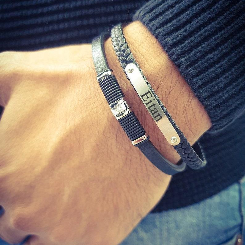 Custom Name Phrase Braided Black Leather Bracelet Engrave Initials Men Bracelet Personalized Engraved Bracelet Stainless Steel Bracelet