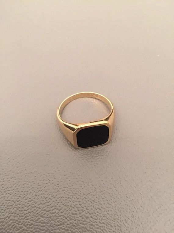 Onyx Ring Signet Ring Black Onyx Ring Men Ring Gold Signet