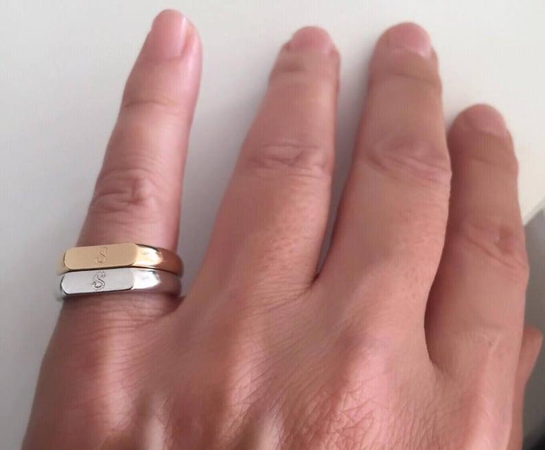Gift for women Personalized Ring men  women ring Pinky ring Monogram Initial Ring Initial ring letter Ring Engraved ring