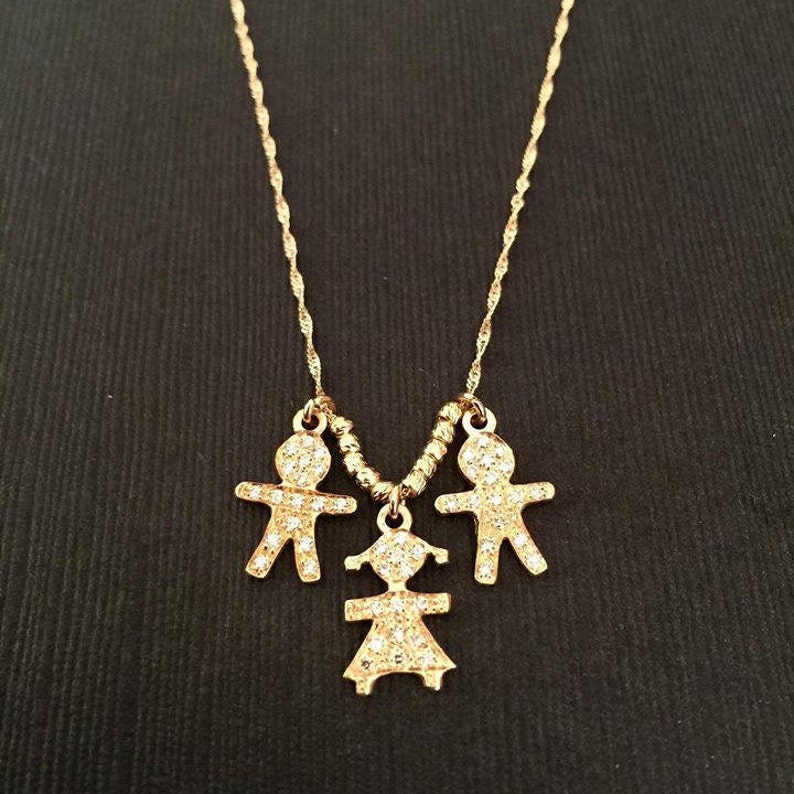 Precious Metal Without Stones Fine Jewelry Yellow Gold Mom W/ Little Boy Or Girl Pendant