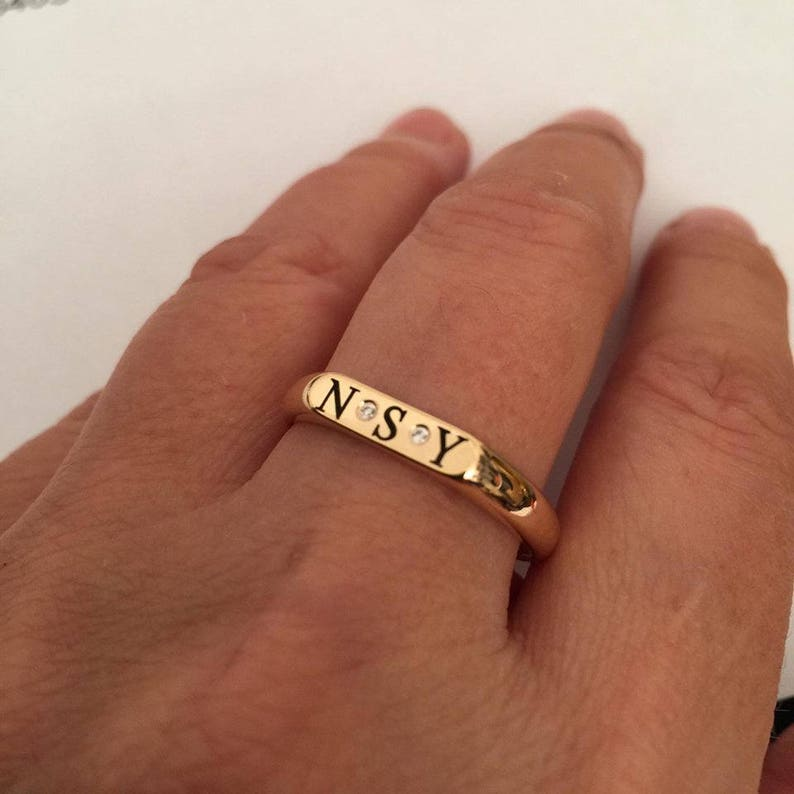 Gift for women Engraved ring Personalized Ring Initial ring Pinky ring letter Ring men  women ring Monogram Initial Ring