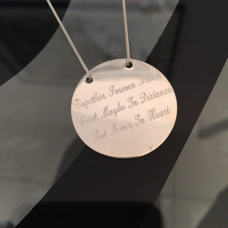 Hand Stamped Necklace Gift for Her Personalized Disc Necklace Sterling Silver Pendant Engraved Necklace Custom Necklace Engraved Disc