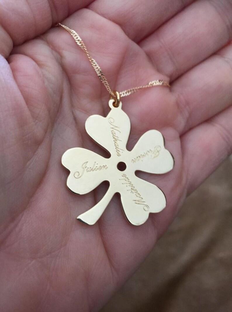 ireland clover necklace Engrave Necklace Personalized Names Necklace Clover Necklace 4 Leaf Clover Four Leaf Necklace mom necklace