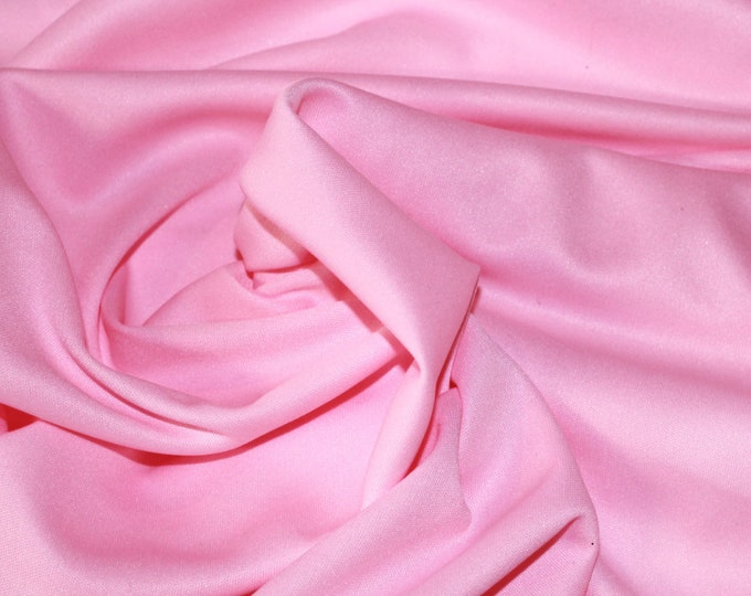 "Bubblegum Pink Poly Knit/ 58 60"" wide/ Pastel/ Fabric by the yard/ Girly/ Pepto Pink/ Retro/ Vintage/ 50s/ Mediumweight/ Apparel/ Craft/"