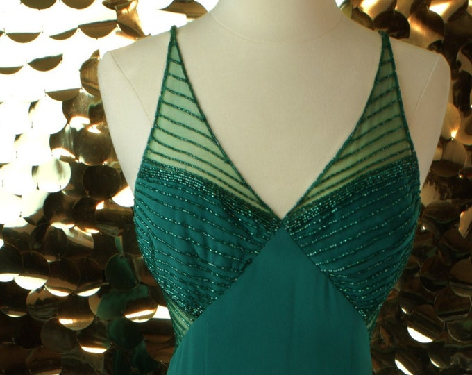 Emerald Green Cache Beaded Gown
