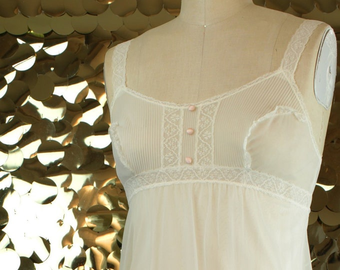 Vanity Fair White + Pink Lace Nightgown