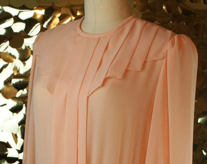 Henry Lee Peach L/S Pleated Day Dress
