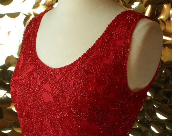 Red Beaded Tulip Wrap Dress