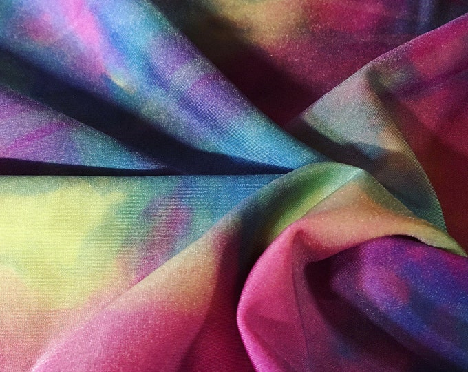 Pink + Yellow + Green + Blue + Purple Rainbow Tie Dye/ BTY/ Fabric By The Yard/ Midweight Multicolor/ 57 58 Wide/ Nylon Spandex Stretch
