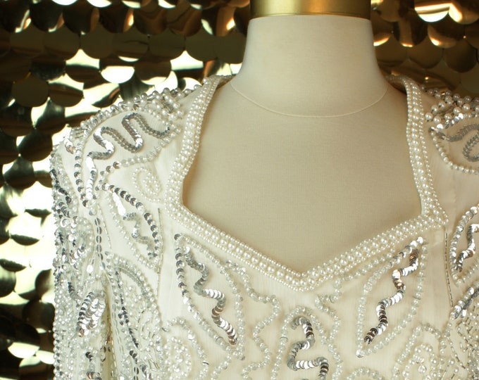 White + Silver Leslie Fay L/S Sequin Dress