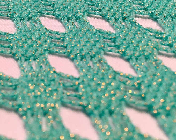 Seafoam Green Lightweight Fishnet Crochet Knit with Gold Metallic Lurex/ 58 Wide/ Poly 2-way stretch/ Fabric By The Yard/ BTY/ Cut To Order