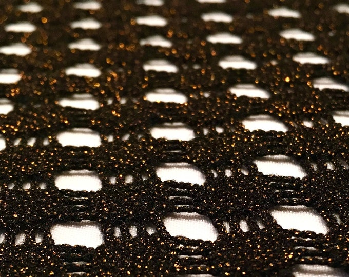 """Black Lightweight Fishnet Crochet Knit with Copper Metallic Lurex/ BTY/ 58"""" wide/ Poly 2-Way Stretch/ Fabric By The Yard/ Cut To Order"""
